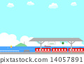 矢量 火車站 海景 14057891