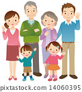 fullbody, six people, three generation family 14060395