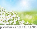 Vector spring blossoming tree on bokeh background. 14073705