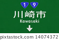 Kawasaki Japan Highway Road Sign 14074372