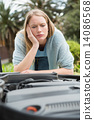 Thoughtful woman looking at engine 14086568