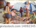 Hipsters having fun in their campsite 14092345