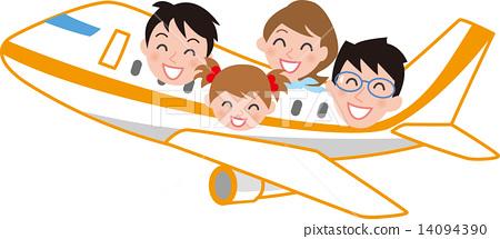 乘飞机的家庭旅行 14094390