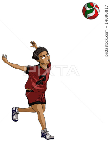 Stock Illustration: volley ball, approach run, volley-ball