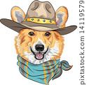 vector Hipster dog Pembroke Welsh corgi  14119579