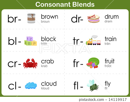consonant blends worksheet for kids br bl cr cl dr tr fr fl stock illustration. Black Bedroom Furniture Sets. Home Design Ideas