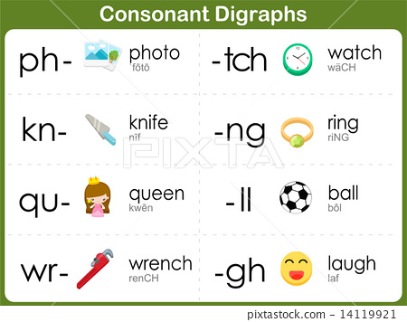 Consonant Digraphs Worksheet for kids : ph, kn, qu, wr, tch, ng ...