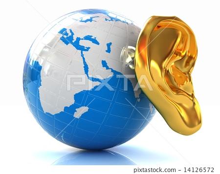 Ear gold 3d on earth 14126572