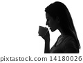 profile of woman holding and drinking cup of coffee or tea black and white isolated 14180026