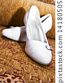 Elegant white wedding shoes 14180505