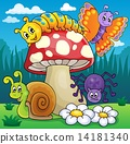 Toadstool with animals on meadow 14181340