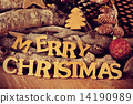 wooden letters forming the sentence merry christmas 14190989