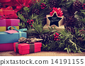 gifts, christmas wreath and text merry christmas in a star-shape 14191155