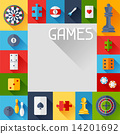 Background with game icons in flat design style. 14201692