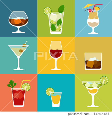 Stock Illustration: Alcohol drinks and cocktails icon set in flat design style.