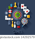 Background with game icons in flat design style. 14202579