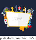 Background with game icons in flat design style. 14202653
