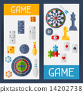 Vertical banners with game icons in flat design style. 14202738