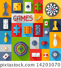 Background with game icons in flat design style. 14203070