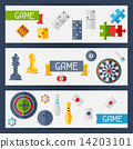 Horizontal banners with game icons in flat design style. 14203101