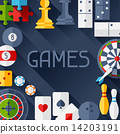 Background with game icons in flat design style. 14203191