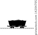 Illustration cargo coal wagon freight railroad train, black tran 14204705