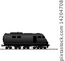 Illustration powered locomotive railroad train, black transporta 14204708