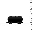 Illustration petroleum cistern wagon freight railroad train, bla 14204709