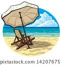Beach chair and umbrella 14207675
