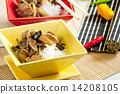 poultry meat with corn and shitake mushrooms 14208105