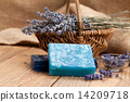 lavender handmade soap bars, on wooden background 14209718
