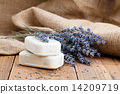 lavender handmade soap bars, on wooden background 14209719