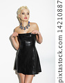 Quiet Pensive Blond Woman in Black Dress 14210887