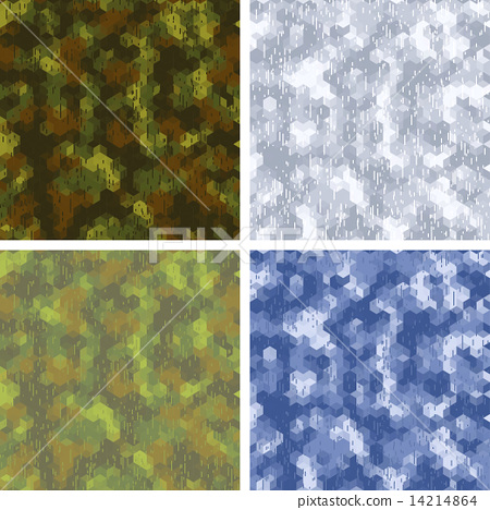 Seamless stylized camouflage patterns with hexagons