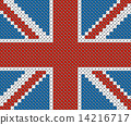 Great Britain flag background made with embroidery cross-stitch. 14216717