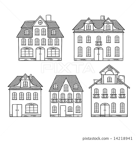 Old hand drawing houses isolated. 14218941
