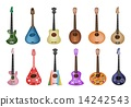 A Set of Beautiful Ukulele Guitars on White Background 14242543