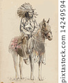 Indian chief sitting on a horse. 14249594