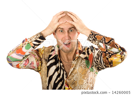 Businessman screaming with hands on head 14260005