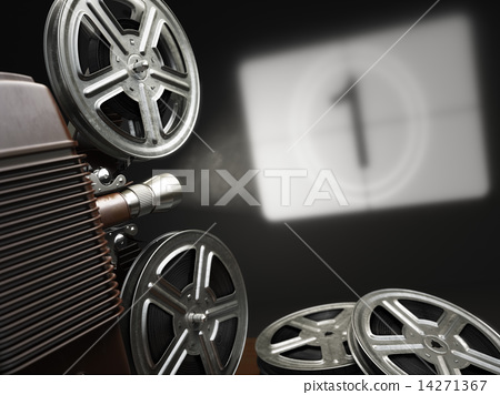 Stock Illustration: Cinema, movie or video concept. Vintage projector with projectin