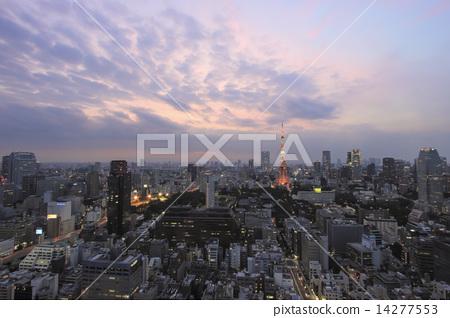 Tokyo evening scenery Tokyo Tower 14277553