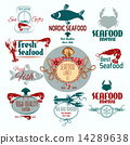 seafood, label, set 14289638