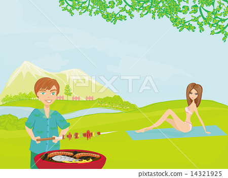 Barbecue Party - cook and girl on rural landscape 14321925