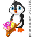 Penguin with Easter wheelbarrow 14322485