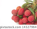 Fresh lychees with leaves 14327964