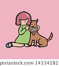 Girl make dog smile 14334282
