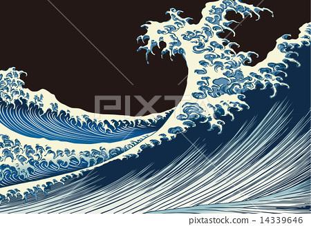 """Katsushika Hokusai Fukutake一百个风景""""在海的富士""""图象例证 14339646"""