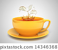 Splash of the tea in form of a plant in white cup 14346368
