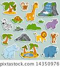 Set of various cute animals, vector stickers of safari animals 14350976