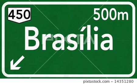 Brasilia Brazil Highway Road Sign 14351280